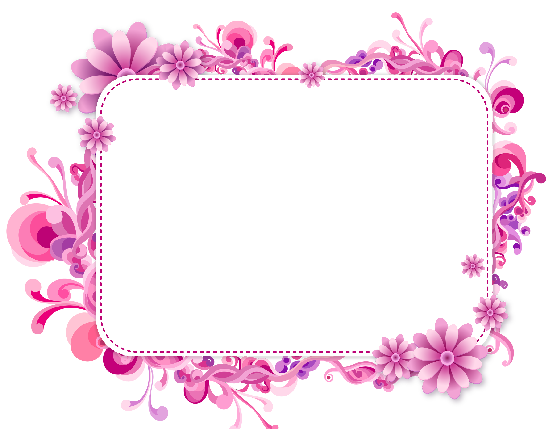 Marcos vintage floral vector png. Pink and purple frame