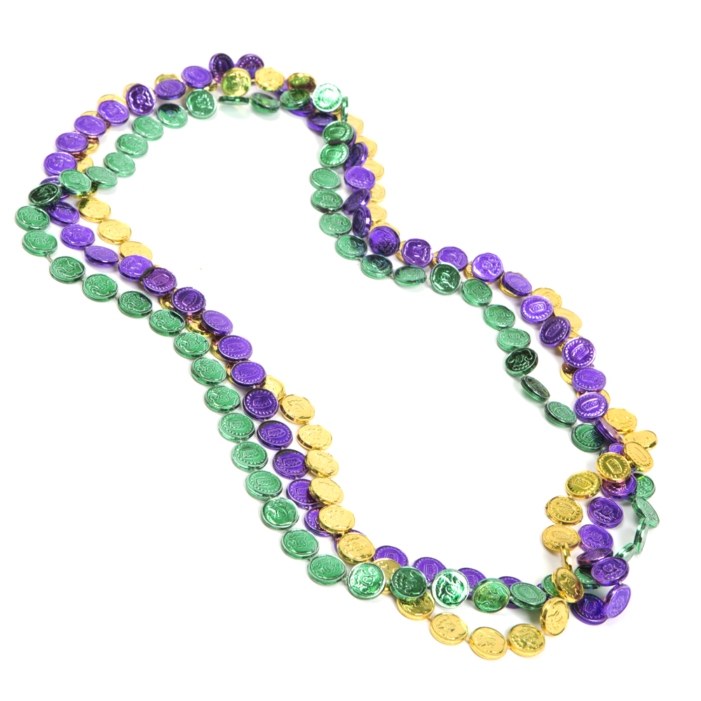 Mardi gras beads beaded necklace