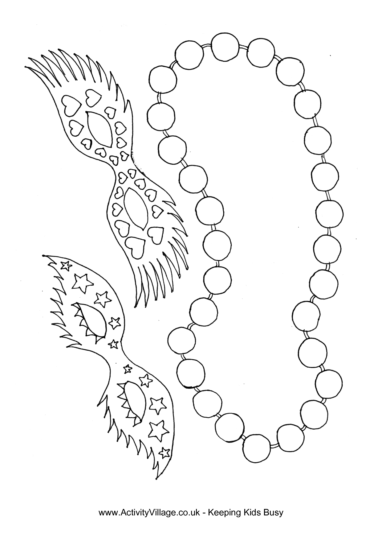 Mardi gras beads clipart coloring page. Pages of ninjazac gaming