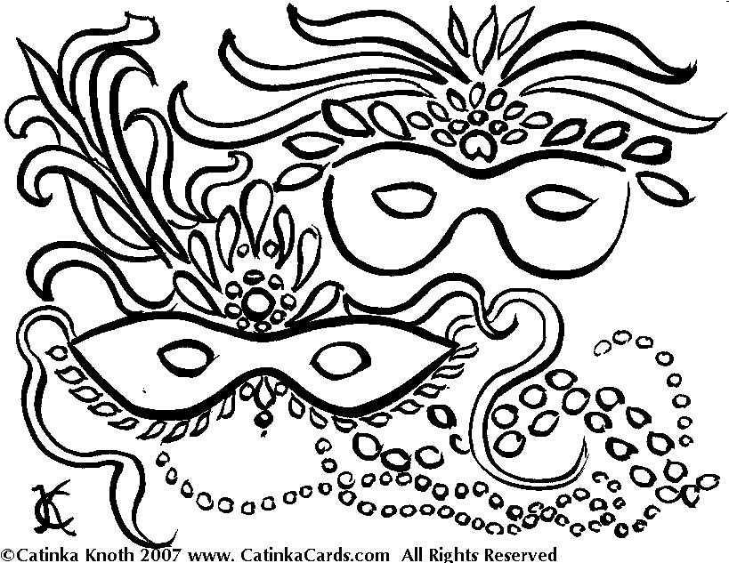 Mardi gras beads clipart coloring page. Happy pages best of