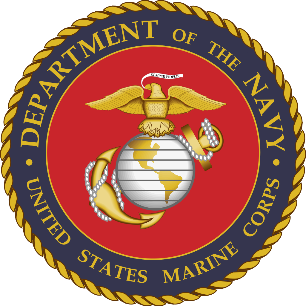 File of the u. Marines seal png banner black and white stock