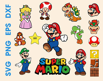 Mario clipart svg. Luigi etsy game characters