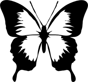 Mariposas vector. Black and white butterfly