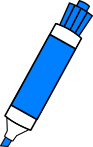 Board vector dry erase. Blue marker clip art