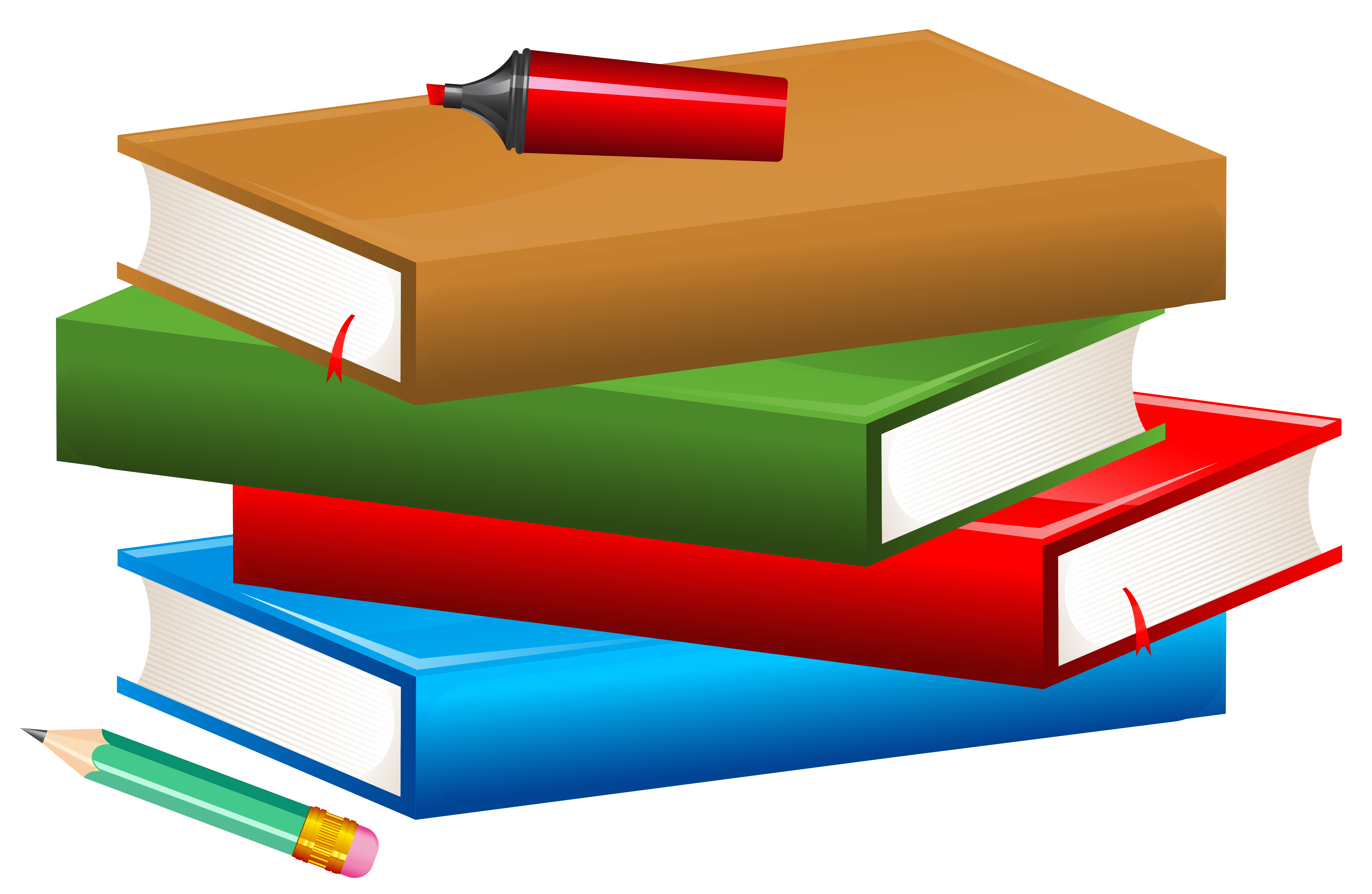 Books clipart png. With pencil and marker