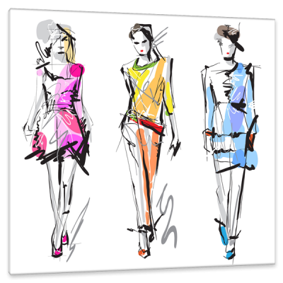 Markers drawing fashion. Anonymous artist model strolling