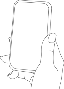 Drawing ipad hand holding. With smartphone clip art