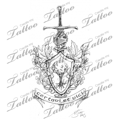 Marketplace drawing. Tattoo celtic coat of