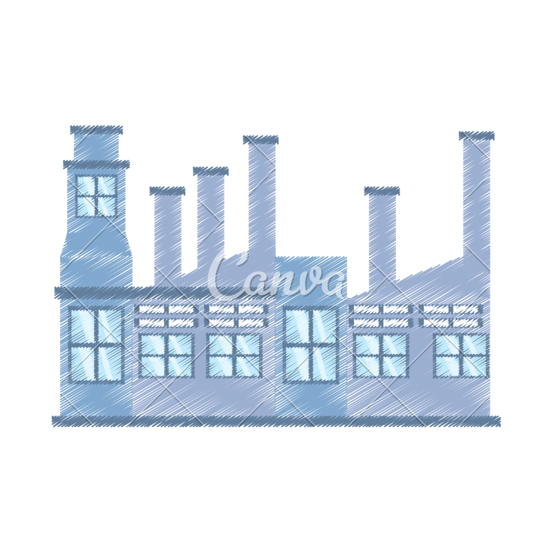 Marketplace drawing building. Factory structure icons by