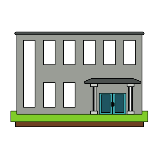 Marketplace drawing building. Bank edifice icons by