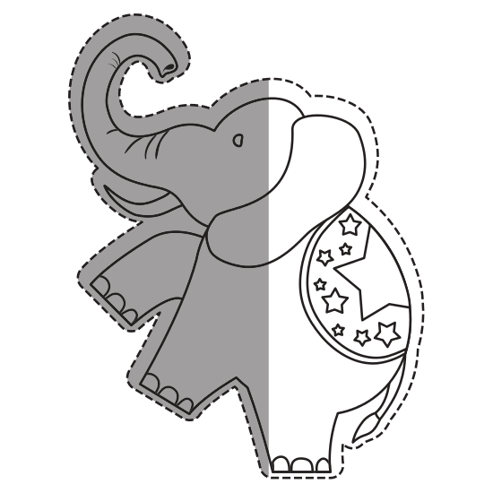 Marketplace drawing circus. Elephant cartoon icons by