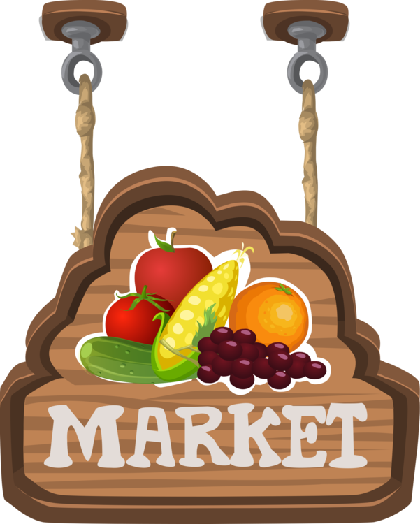 Marketplace drawing vegetable market. Signage farmers advertising grocery