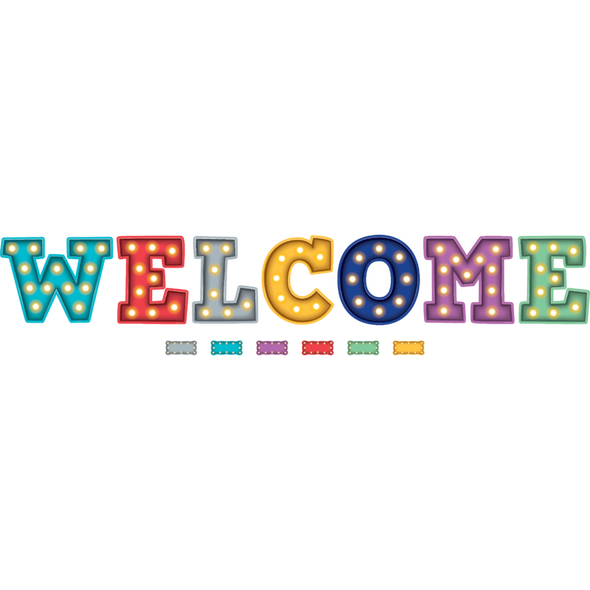 Marquee clipart board. Welcome bulletin display tcr