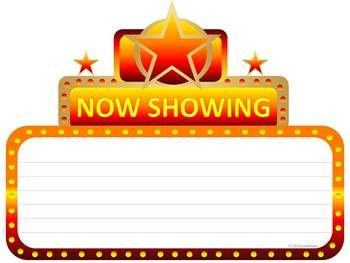 Marquee clipart editable. Now showing cinema graphic