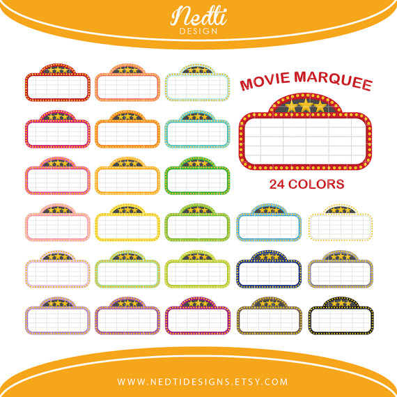 Marquee clipart movie themed. Colorful rainbow color