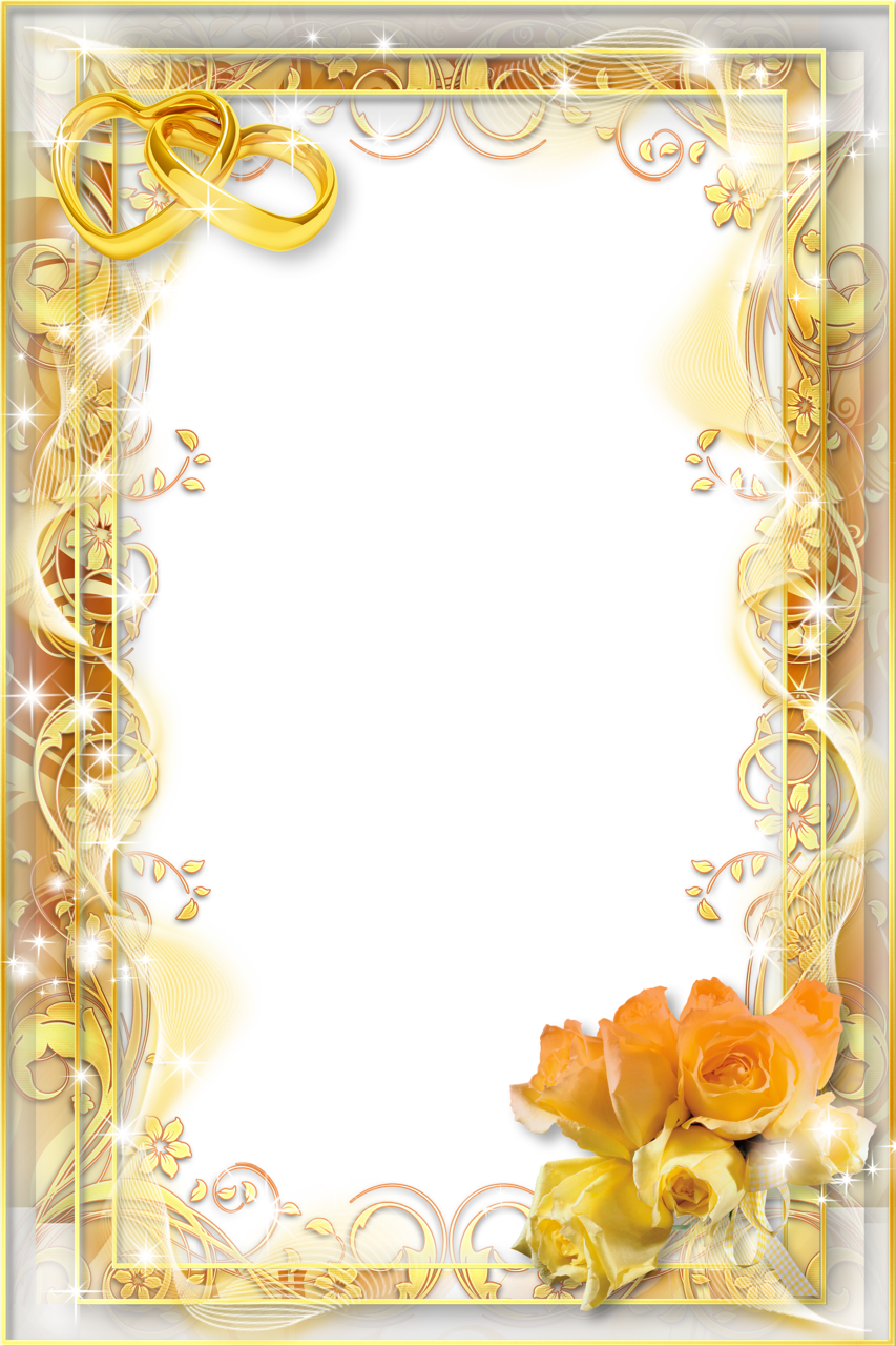 Png photo frames. Wedding flower yellow frame
