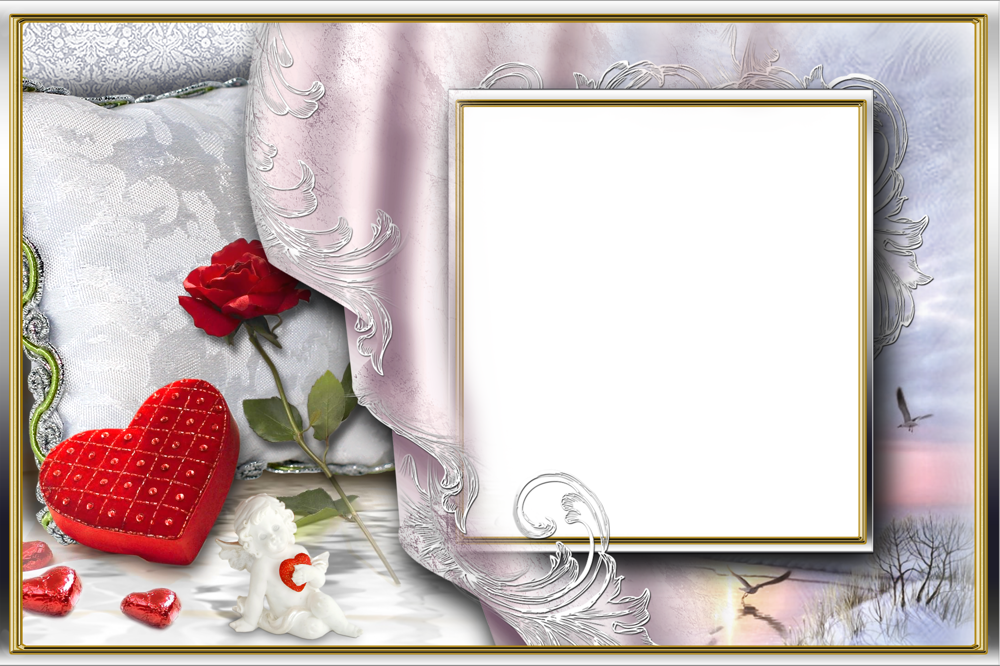 Marriage angels frames png. Romantic photo frame with