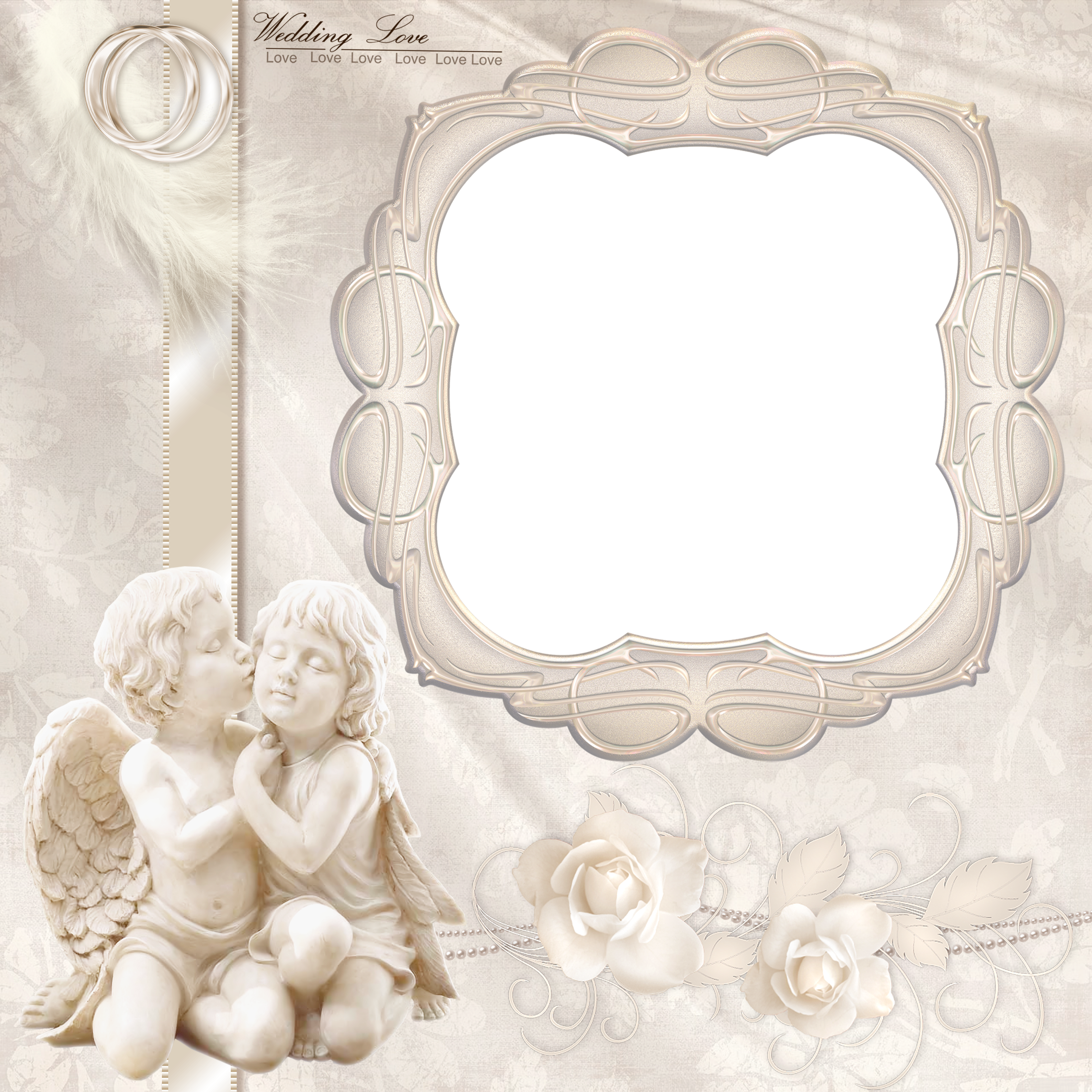 Marriage angels frames png. Transparent wedding frame with
