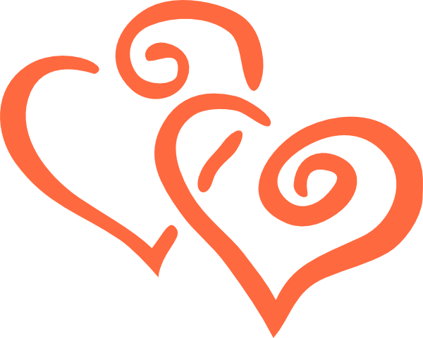 Coral svg outline. Wedding clipart double heart