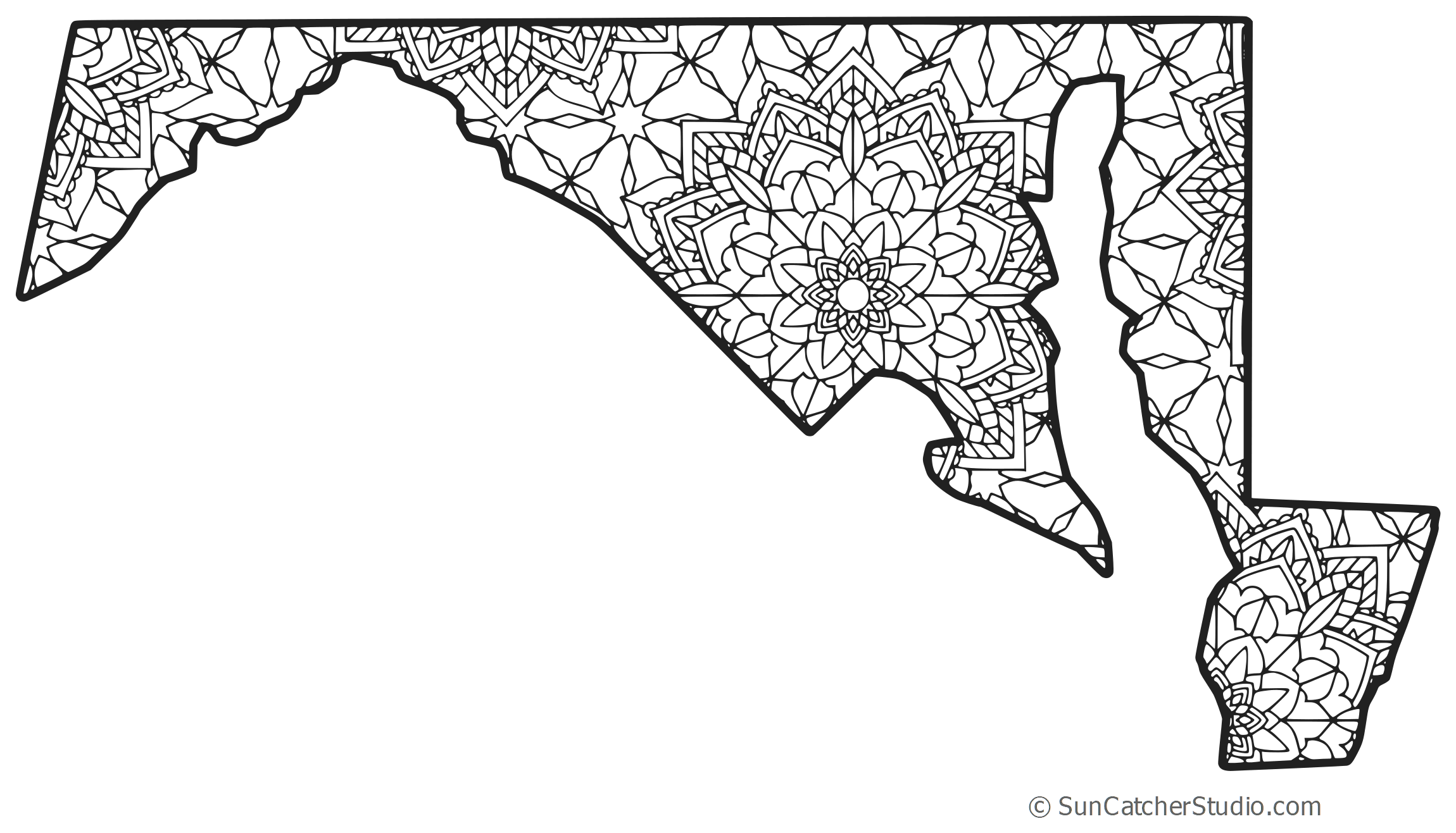 Maryland vector pattern. Map outline printable state