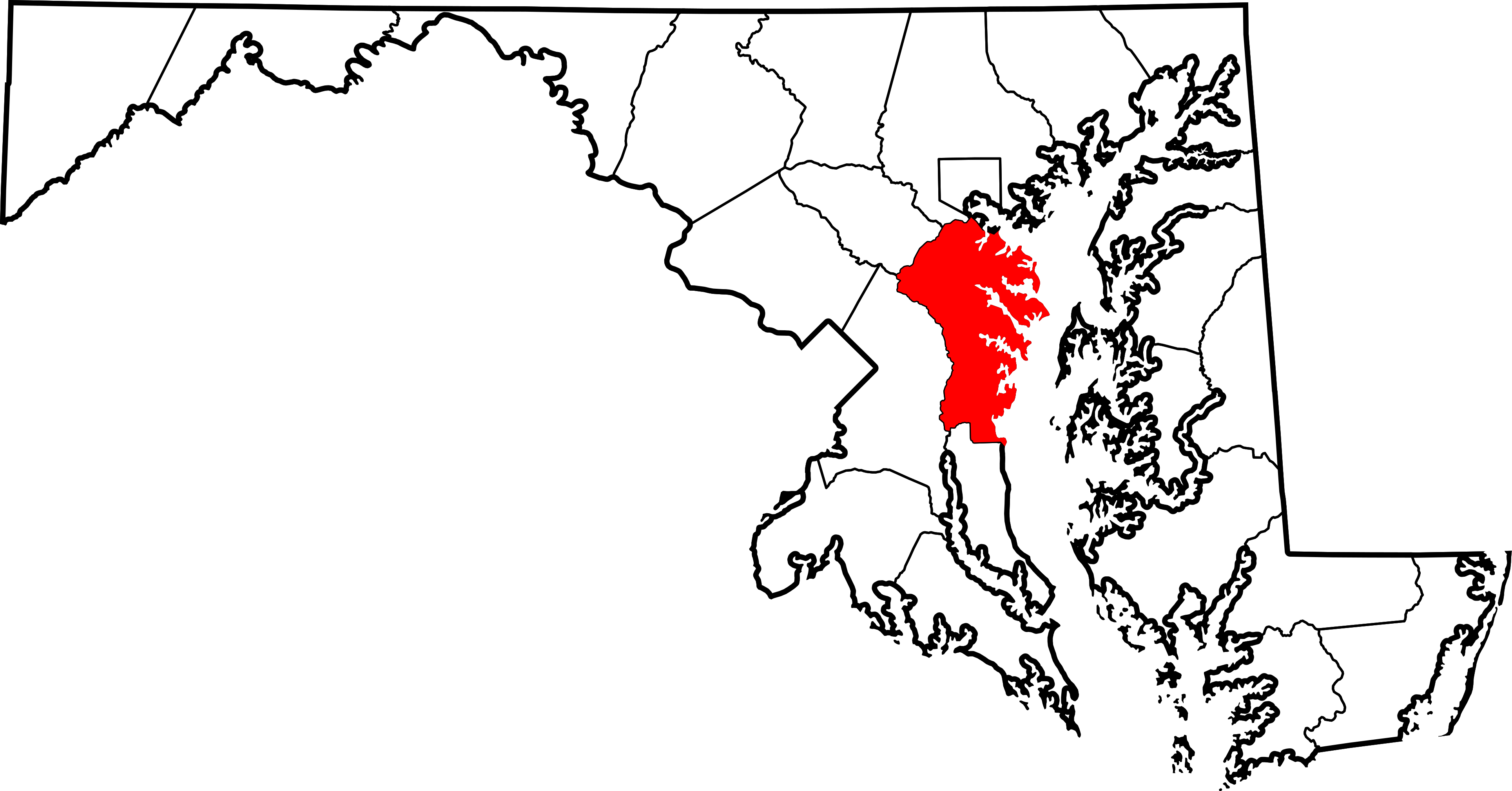 Maryland vector map. File of highlighting anne