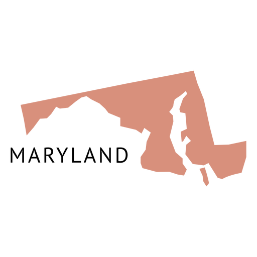 Maryland vector. State plain map transparent
