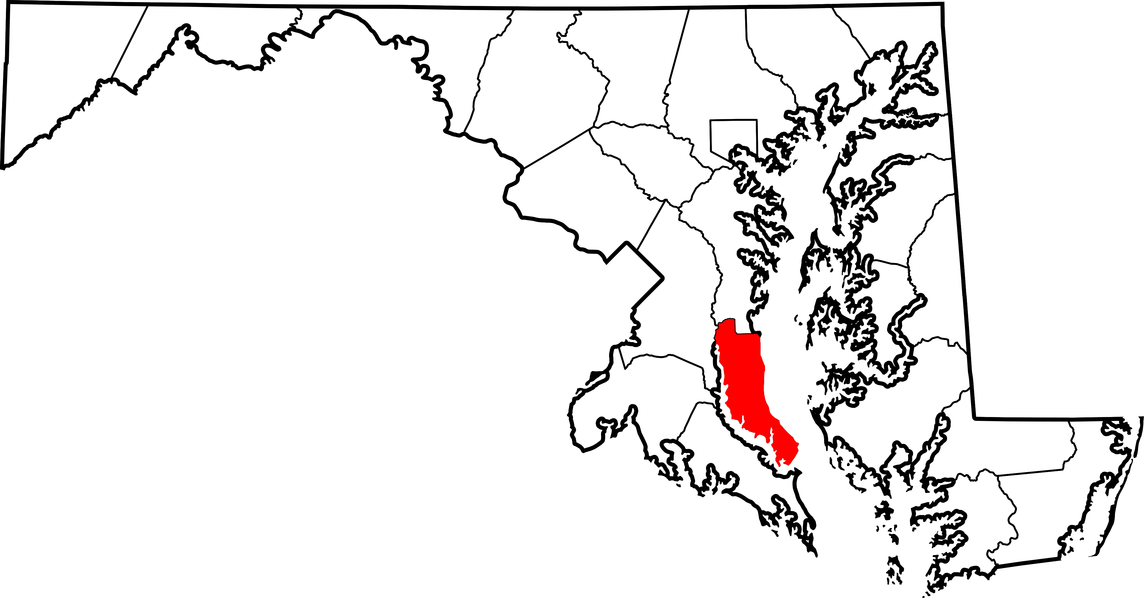 Maryland vector outline. File map of highlighting