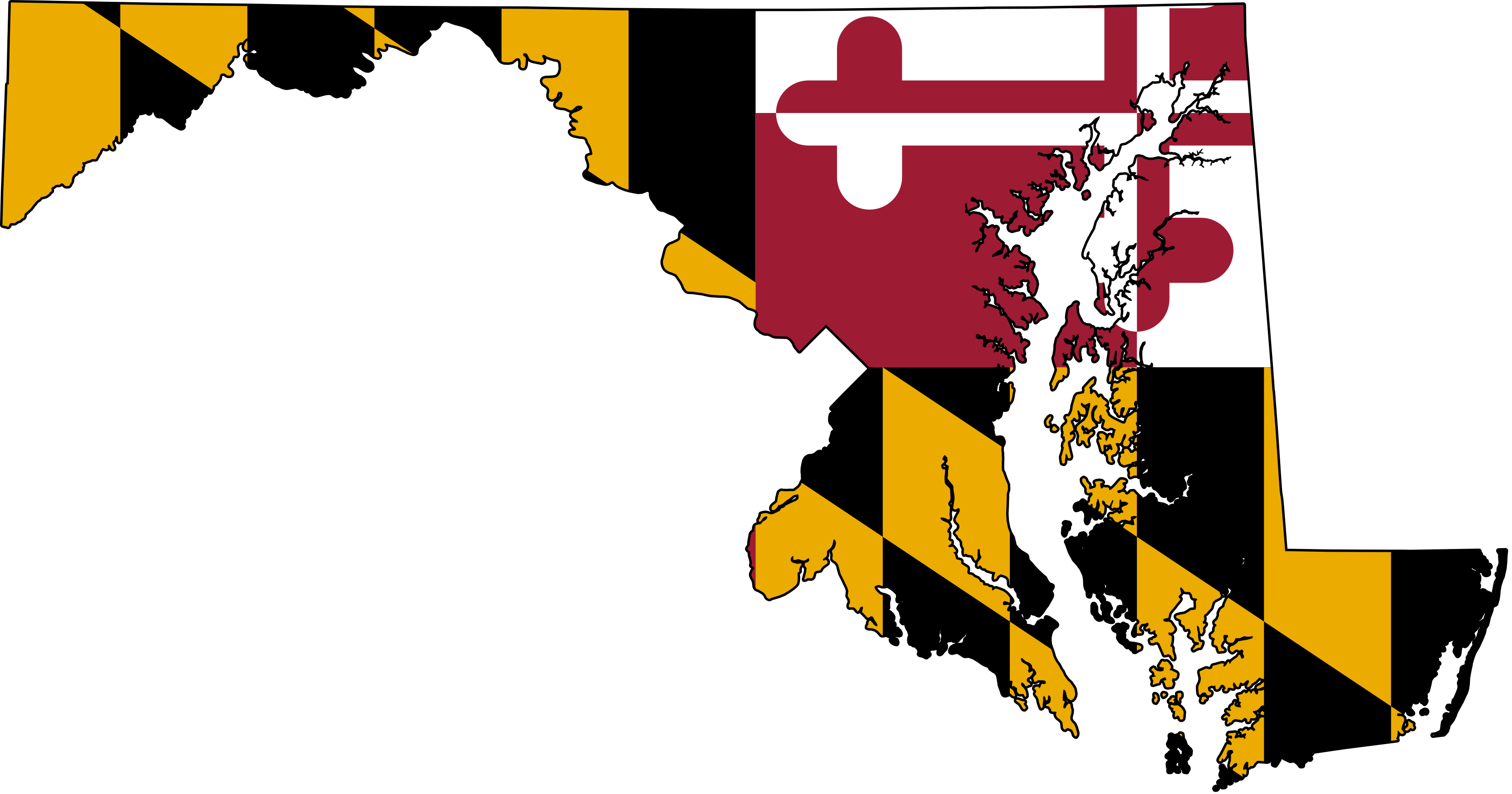 Maryland vector shape. Md flag map of