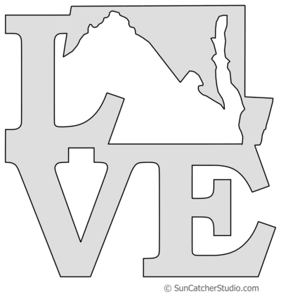Maryland vector love. Map outline printable state