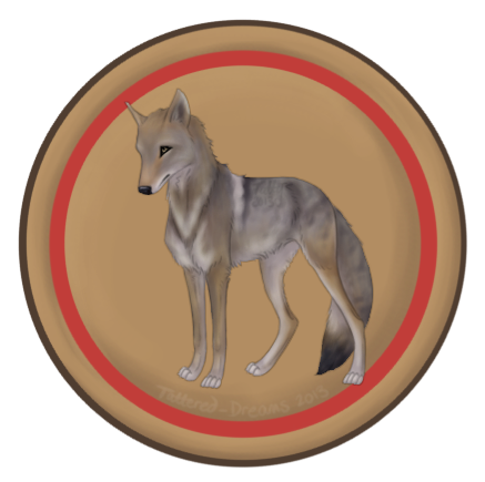 Mascot drawing coyote. Camp badges tribe by