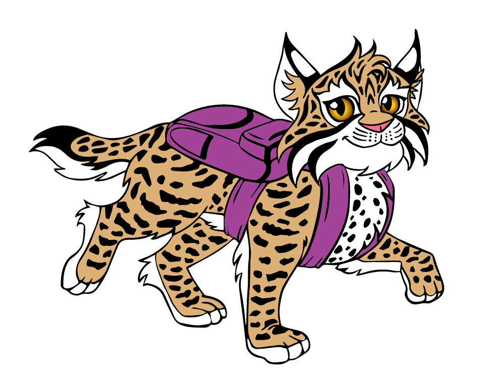 Mascot vector bobcat. Wearing a backpack by