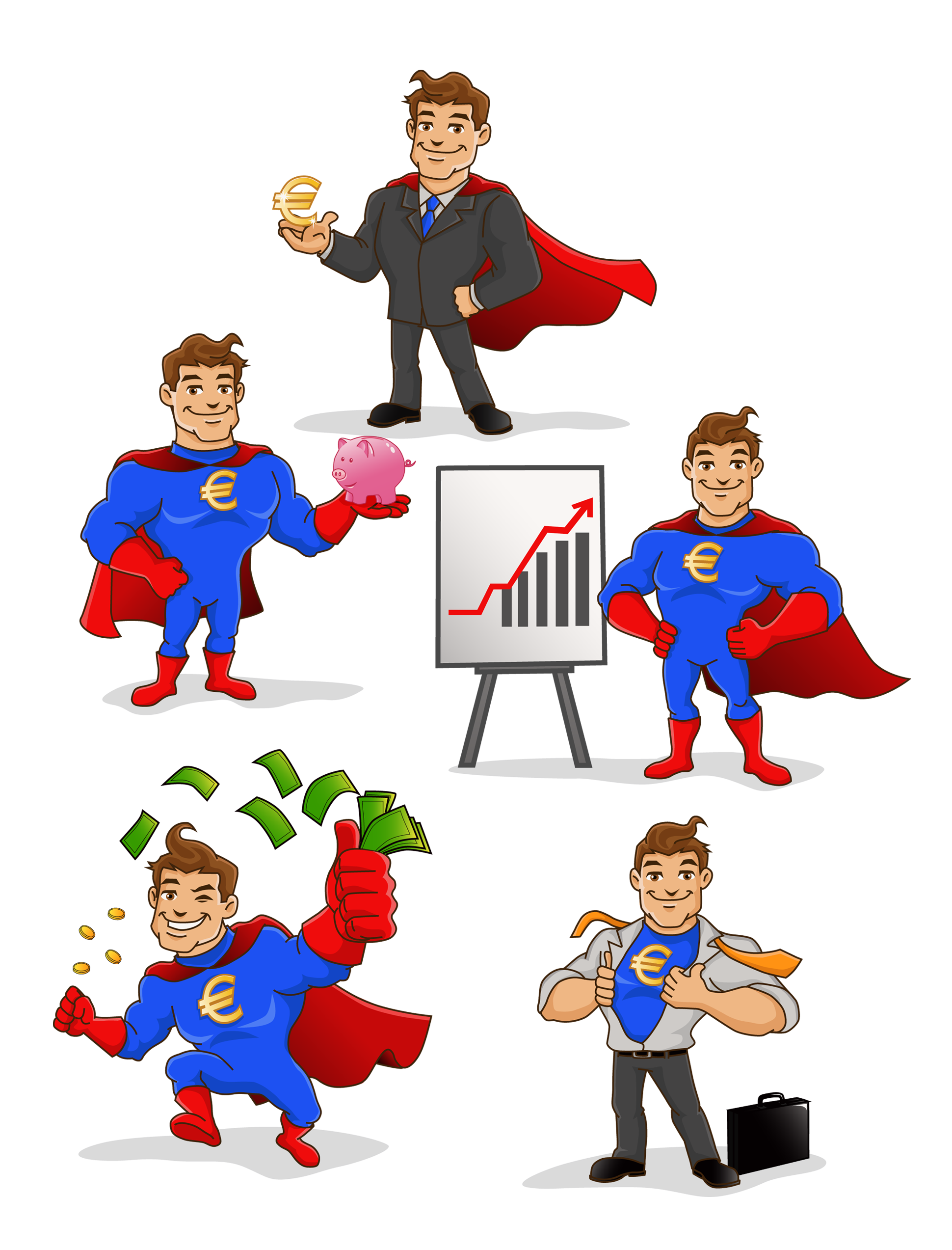Mascot vector superhero. Personal finance blog mascott