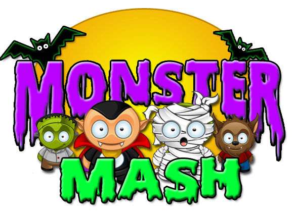 Mash clip halloween. Monster party sensory world