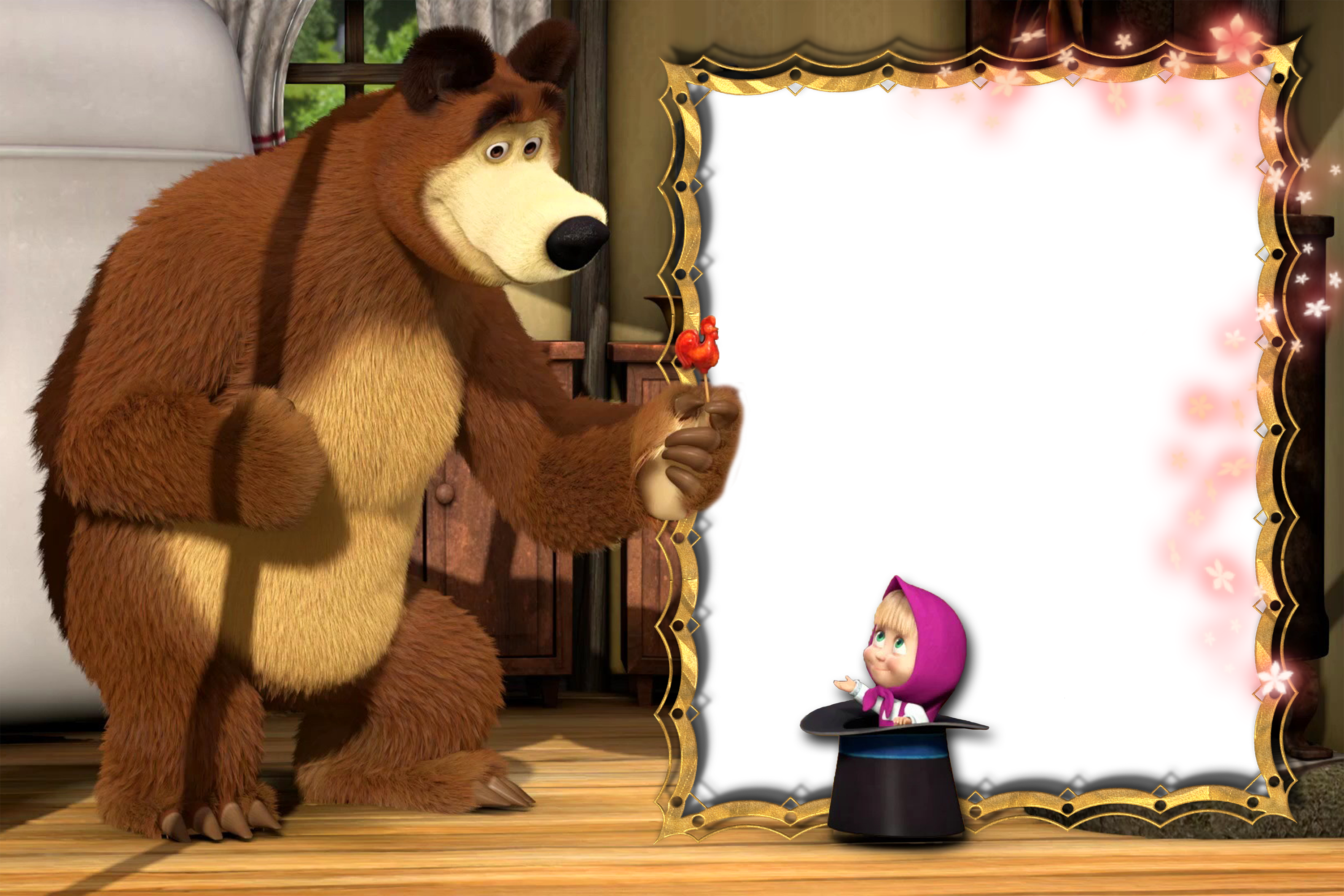 Masha and the bear png. Transparent kids photo frame
