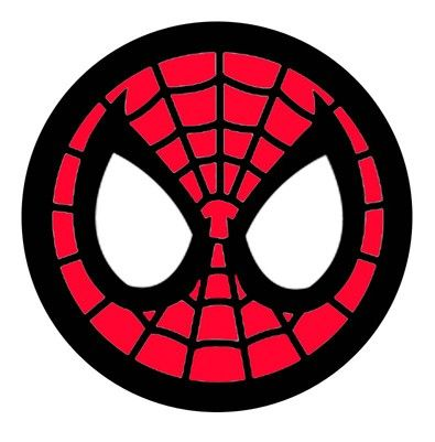 Spiderman face logo wall. Mask clipart spider man image black and white library