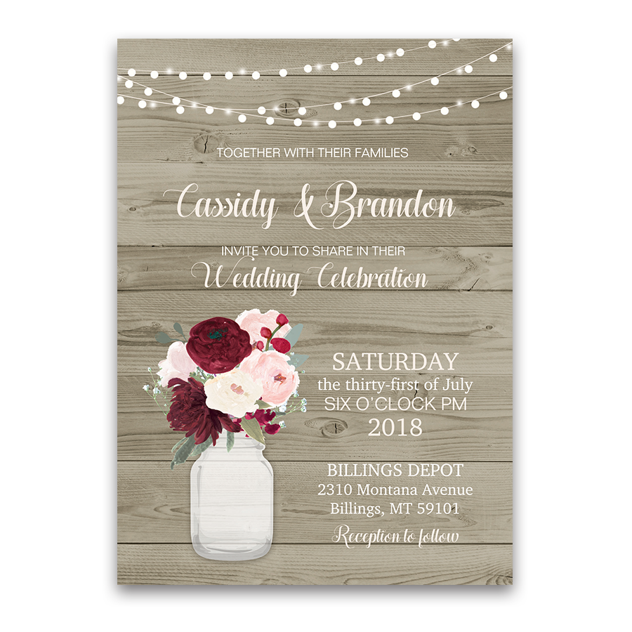 Rustic floral wedding invitations. Mason jar flowers png graphic stock