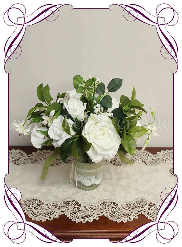 White roses foliage table. Mason jar with flowers png svg freeuse