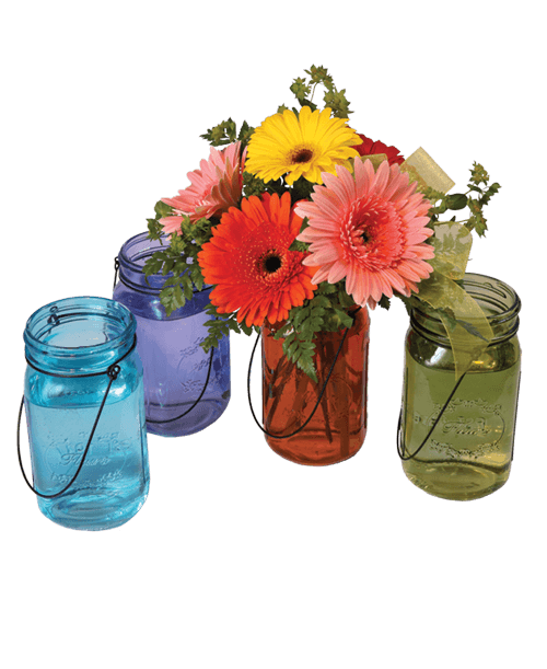 Mason jar with flowers png. Gerbera royer s and
