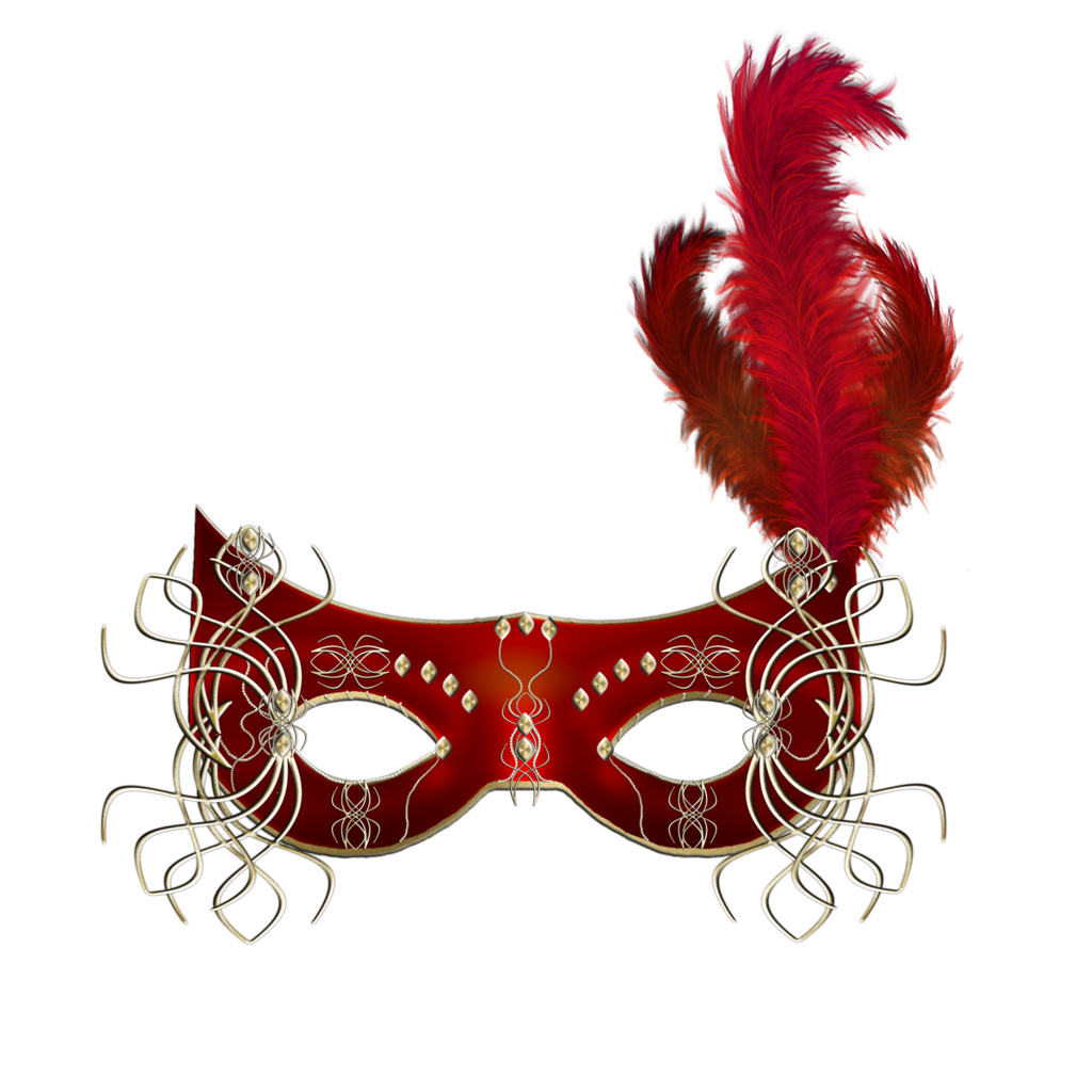 Transparent masks feather. Red mask clipart gallery
