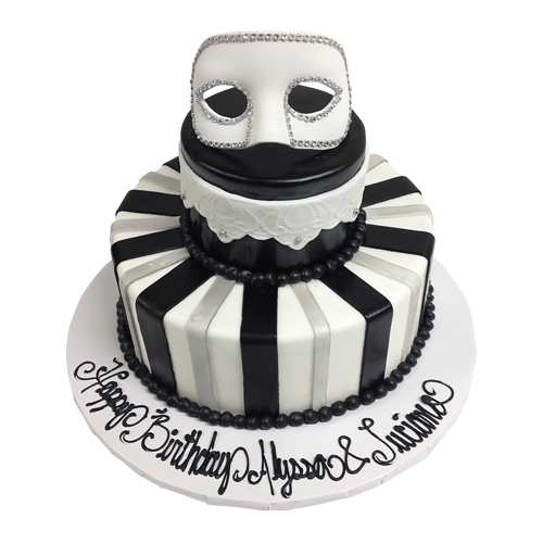 Masquerade cake png. Tiered birthday cakes available