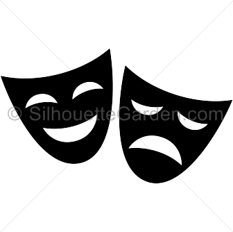 Transparent masks drama. Mask silhouette