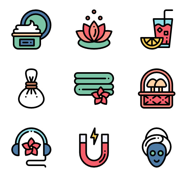 Massage vector drawing. Icons free alternative medicine