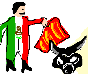 Matador drawing. Mexican making his bull