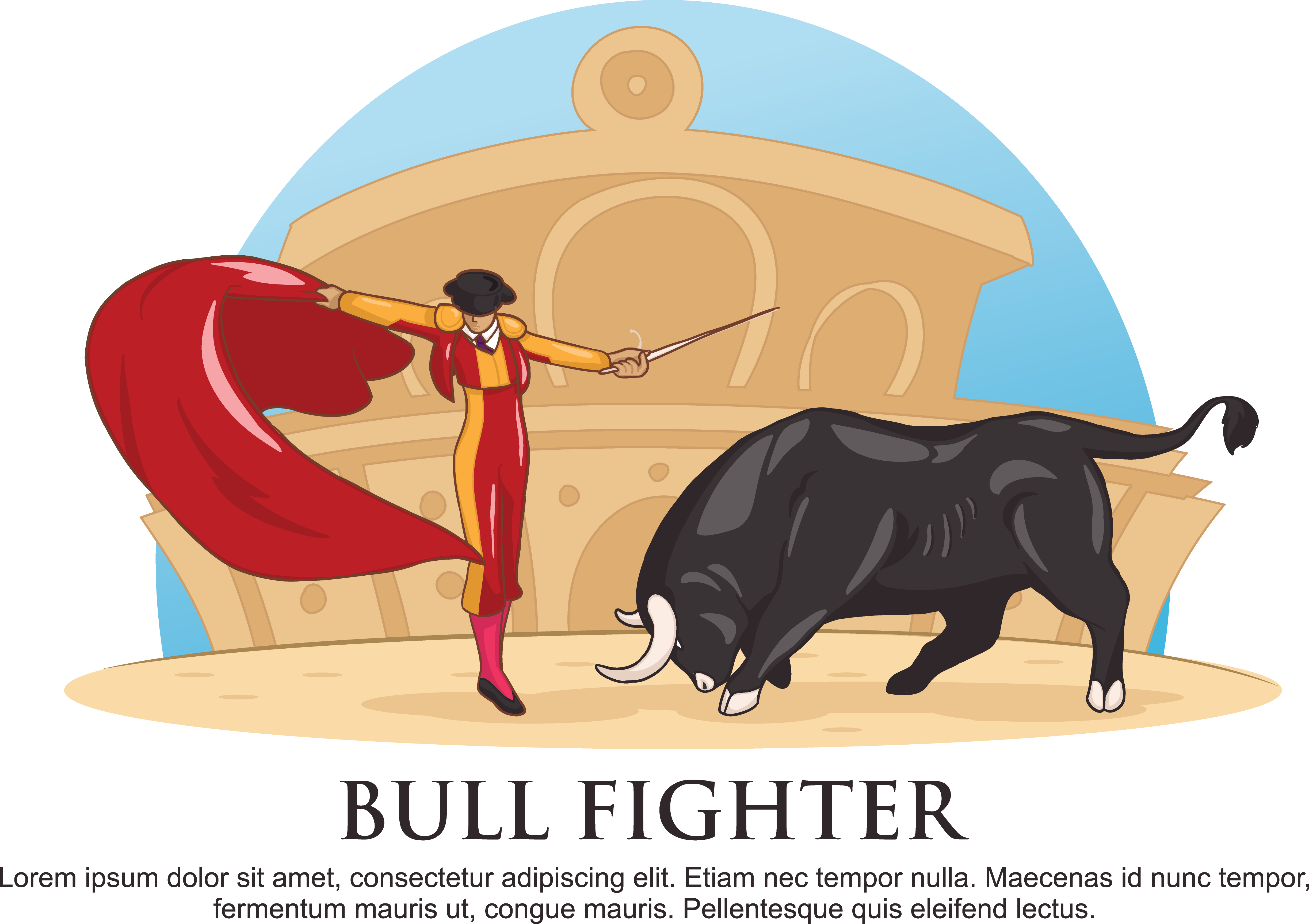 Matador drawing clip art. Spanish black and