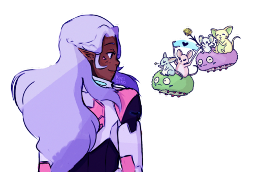 Match drawing aesthetic. Allura as the pink
