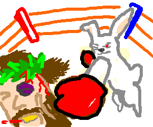 Match drawing boxing. Jesus and easter bunny
