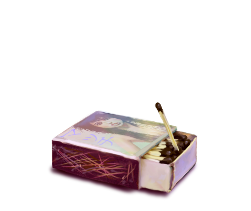 Match drawing still life. Box of matches by