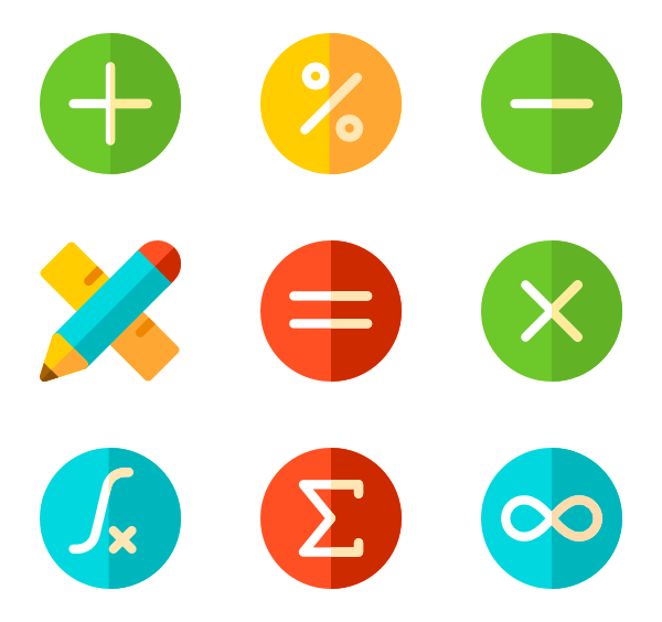 Vector expressions clip art. Math icon packs