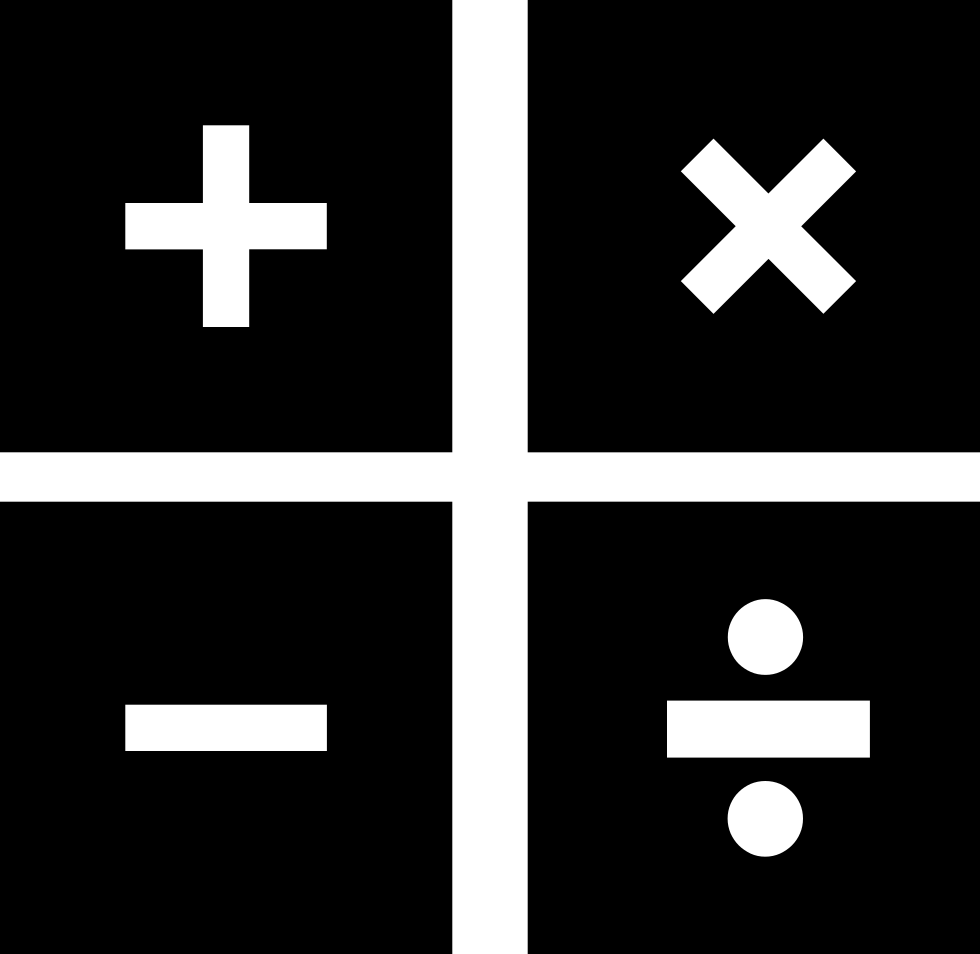 Math symbols png. Mathematical in four squares