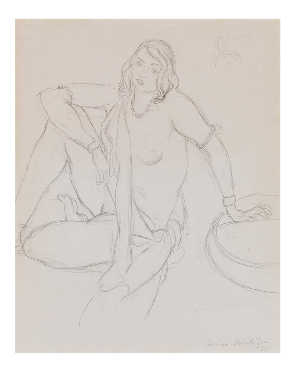 Matisse drawing pencil. Distinguished femme nue assise